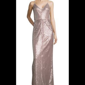 NWT Adrianna Papell Sequin stripe formal gown pink